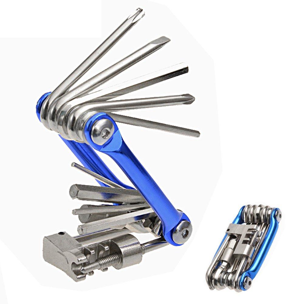 Hltd 11 en 1 Multi-Función Bicicleta Reparación de bicicletas Kit de herramientas Ciclismo plegable Mantenimiento Multi herramienta Socket Wrench hexadecimal llaves destornillador Set Hltd4