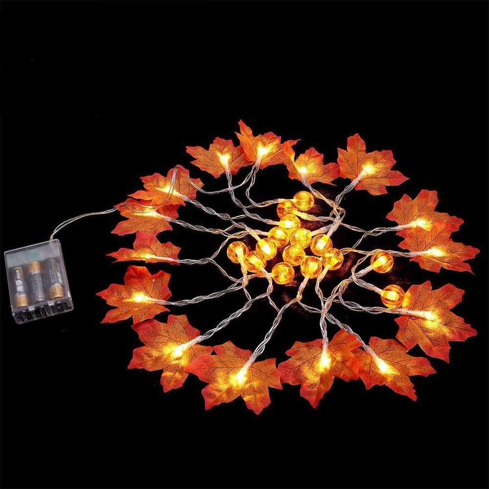 4 Pack Thanksgiving Fall Decorations Leaf Garland String Lights for Indoor Outdoor 10 ft 20 LED Maple Leaves Light 3 AA Battery Operated Decor Fireplace Harvest (4Pack Garland with Pumpkins)