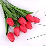 Louiesya Artificial Flowers 10pc/Set Stunning Holland Mini Tulip Latex Plants Decor Real Touch Wedding