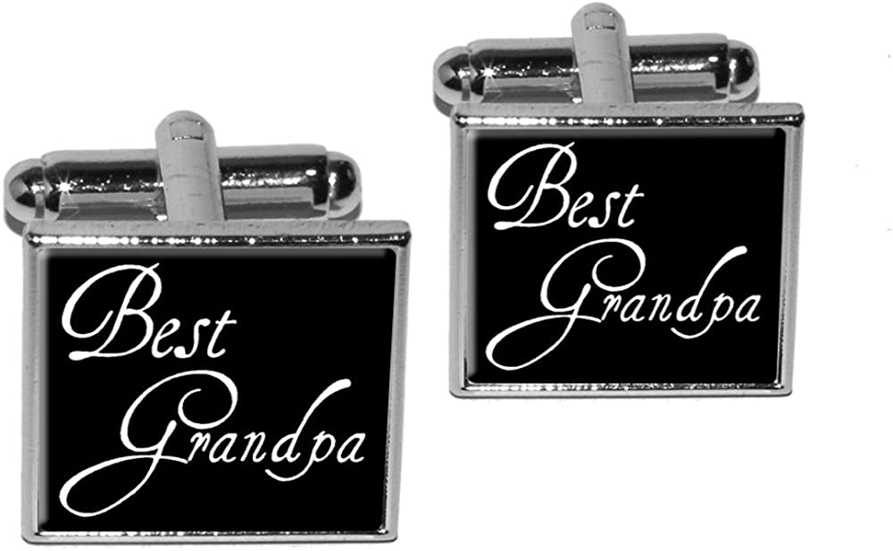 Graphics and More Best Grandpa Square Cufflink Set - Silver