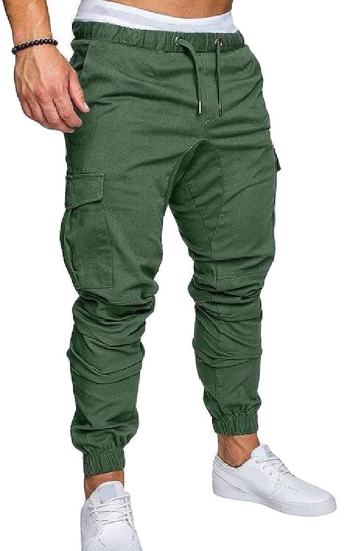 Joe Wenko Mens Drawstring Solid Color Casual Jogging Pocket Pant