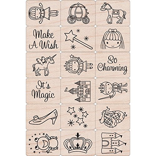 - Hero Arts Ink 'n Stamp Tub LP199 Mounted Rubber Stamps, Woodblock Stamps and Ink Pad Cube Set - Fairy Princess