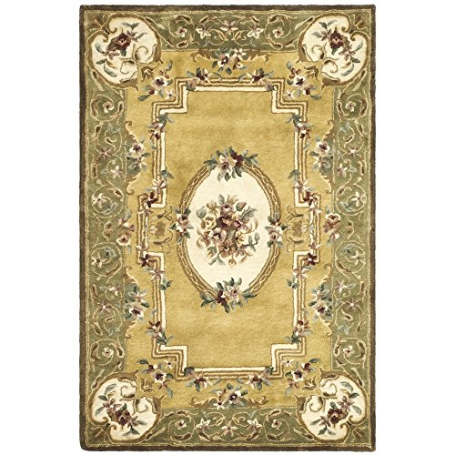 Safavieh Classic Collection CL280A Handmade Traditional Oriental Light Gold and Green Wool Area Rug (3' x 5') - Green Gold Area Rug