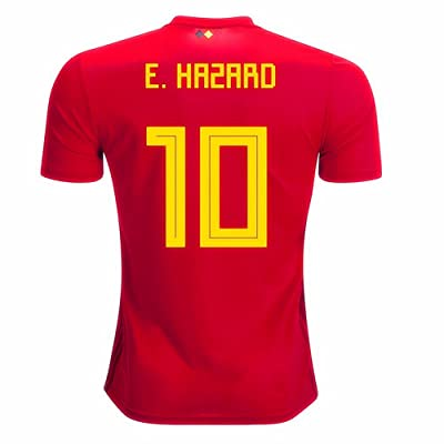 2018 World Cup Belgium National Team Home #10 Hazard Soccer Jersey Men Color Red Size L