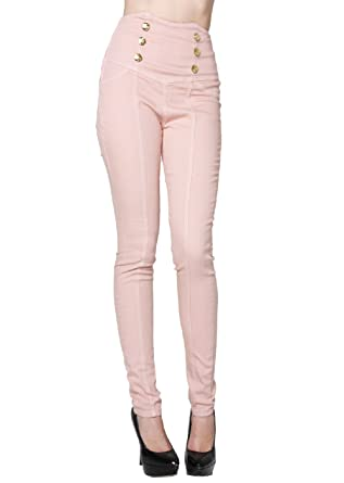 High Waist Skinny Jeans with Gold Button Detail Pink Color (3 ...