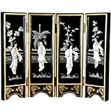 Oriental Furniture Mini Lacquer Screens - Black Mother of Pearl Ladies