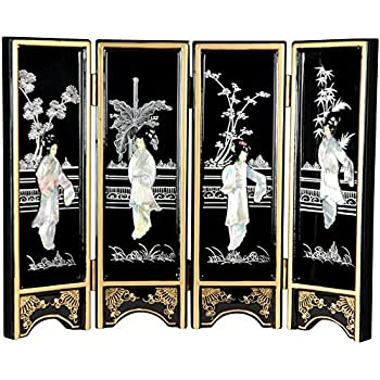 Mother Of Pearl Inlay Art Lacquer Finish Crane Bird And Pine Tree Design Luxury