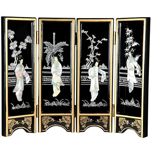 Oriental Furniture Mini Lacquer Screens - Black Mother of Pearl Ladies by ORIENTAL FURNITURE