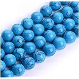 天然宝石圆形松散宝石珠宝石间隔珠耳环手链项链魅力钥匙链珠宝制作 8) Colored Howlite (Blue Turquoise) 8 656727696141