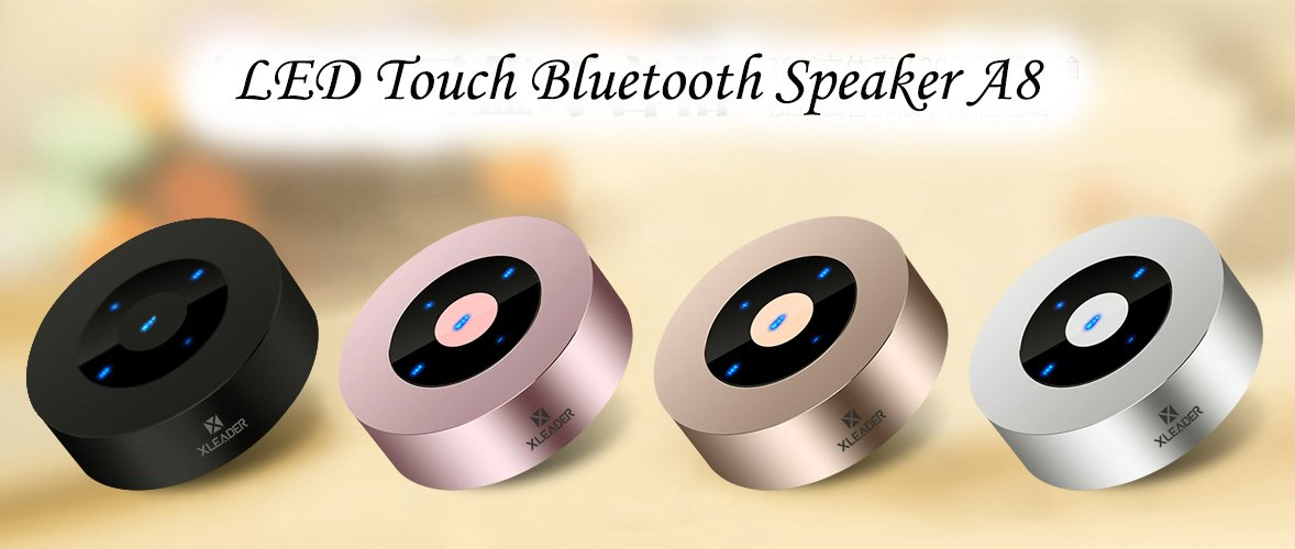 [LED Touch Design] Bluetooth Speaker, XLeader Portable Speaker with HD Sound / 12-Hour Playtime / Bluetooth 4.1 / Micro SD Support, for iphone/ipad/Tablet/Laptop/Echo dot (Rose gold) by XLeader (Image #7)