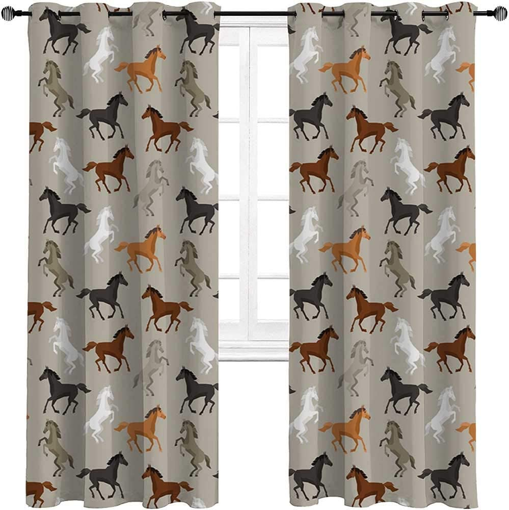 Curtain Panels Horses Soundproof Window Curtain Panels Abstract Stallions Simple Design Equestrian Animals Galloping Curvet Illustration 2 Grommet Top Curtain Panels,52