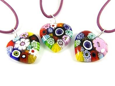 Murano Glass Heart Pendant - Multi Coloured Millefiori Heart - Includes Gift Box (ONE SUPPLIED) OE6V0a