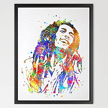 Dignovel Studios 8X10 Bob Marley Watercolor Print Wedding Gift Bob Marley Art Poster Giclee Wall Decor Art Music Home Decor Wall Hanging N141