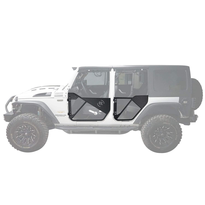 4-Door Offroad Front /& Rear Tubular Half Doors Textured Black Steel for 2007-2018 Jeep Wrangler JK Unlimited