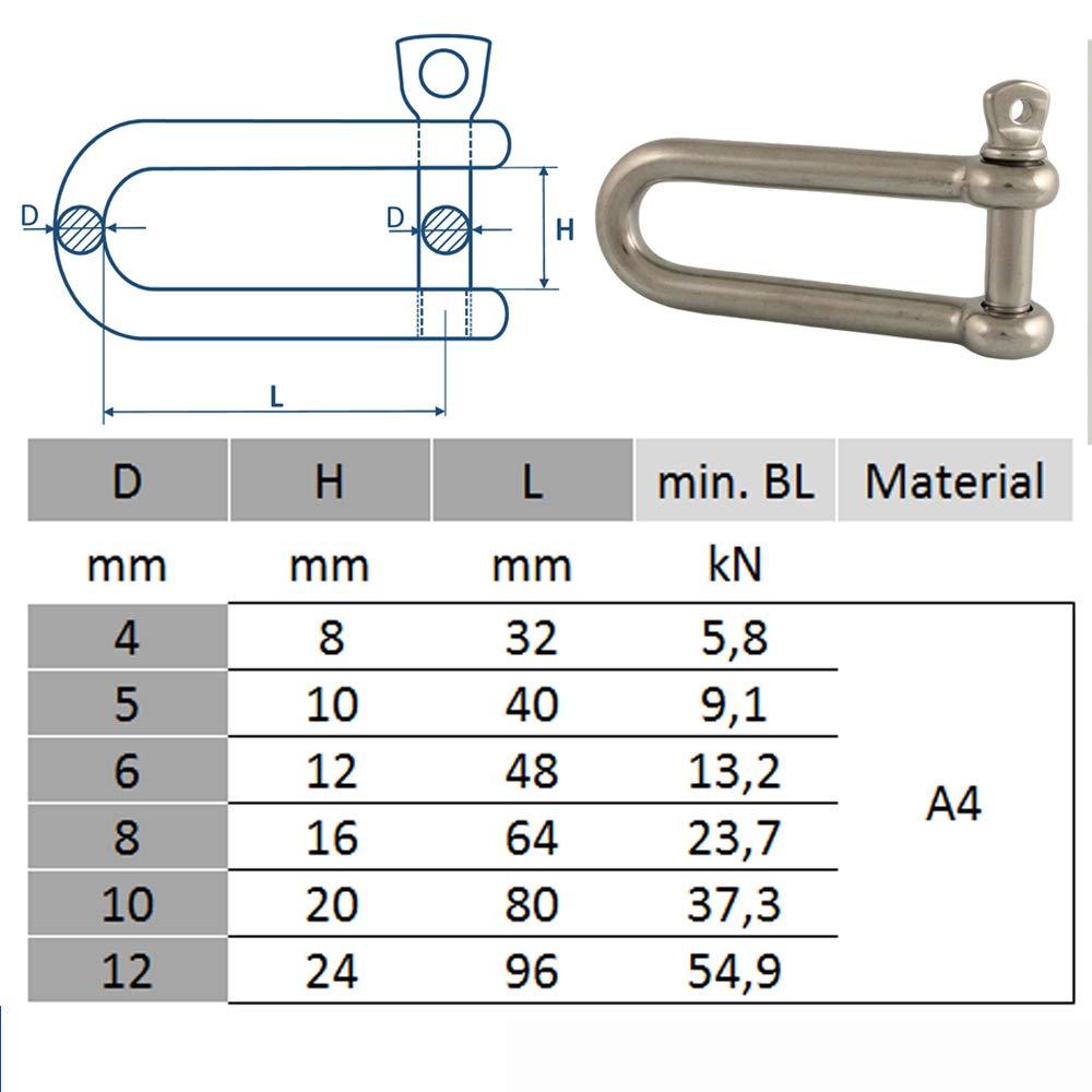 DIN 82101 5 St/ück Sch/äkel lange Form D= 5 x 10 mm Edelstahl A4 /ähnl