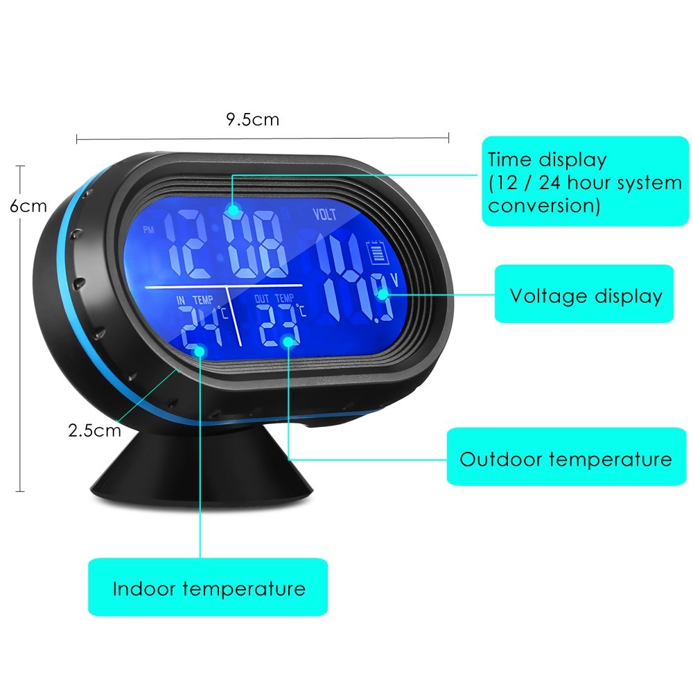 BISOZER 4 In 1 Car Digital Clock with Thermometer and Automotive Voltage Meter Luminous Clock Tester Detector LCD Monitor Back light with Freeze