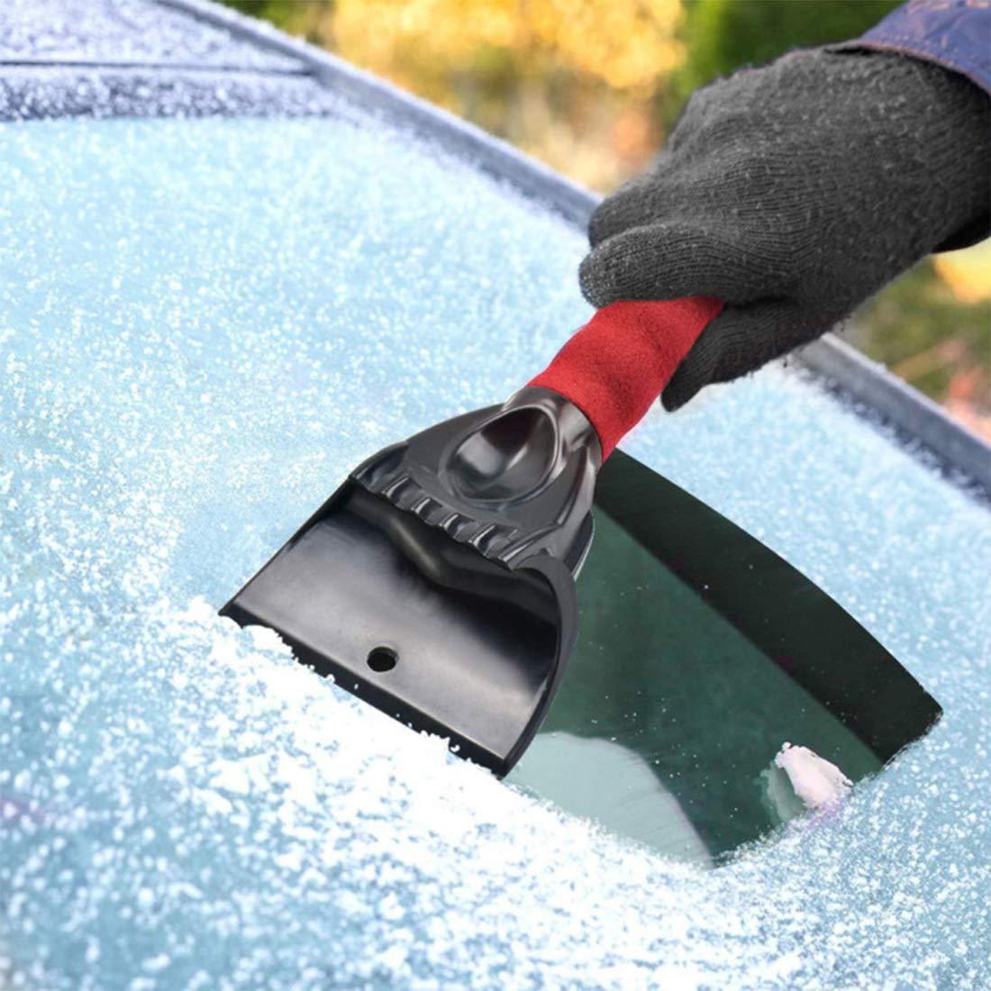 Rosso Le Porte e i Vetri di Vetro Coperti da Neve O-Kinee Raschietto Ghiaccio Auto Raschiaghiaccio Auto Raschietto Auto Pala da Neve per Auto