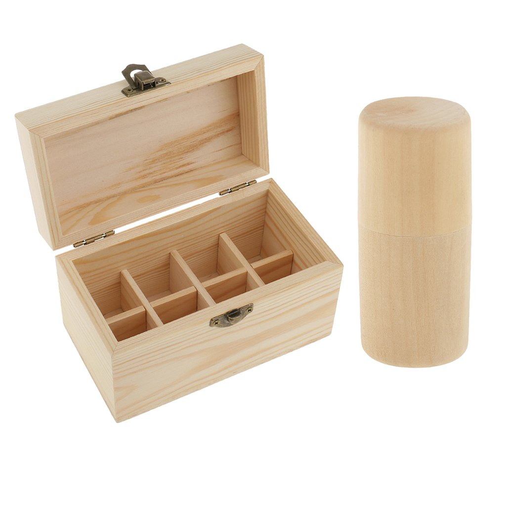 Homyl 2pcs NATURAL WOOD Professional 10ml Essential Oil Bottle Storage Box Display Carry Case Organizer Holder Container Cup 8 COMPARTMENTS + CYLINDER