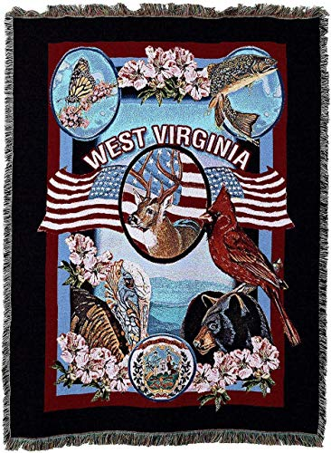 - State Of West Virginia Woven Tapestry Throw Blanket With Fringe Cotton, 54