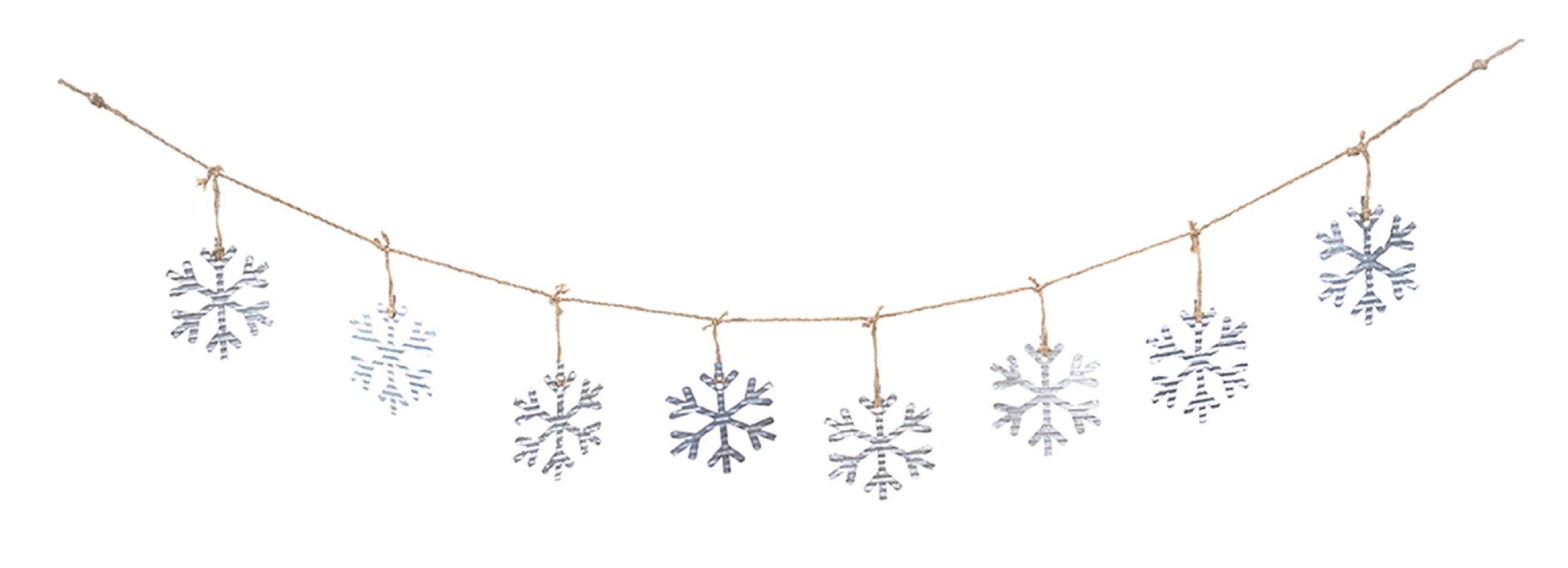 Melrose 5.75' Galvanized Snowflakes on Jute Rope Christmas Garland