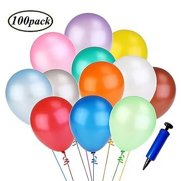 Swallowzy Multicolores Globos con bomba, 100 Piezas coloridos globos de látex de primera calidad decoración de la boda del globos para Bodas, ...