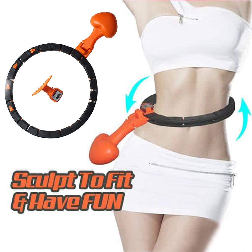 Foldable Weight Hammer Fitness Hoop for Adults Magnetic Massage Board with Counter for Exercise Orange Weight Loss /& Burning Fat Auto-Spinning Hoop Smart Counting Loop with Adjustable Waistband