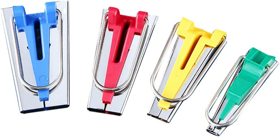 YJYdada Set of 4 Size Fabric Bias Tape Maker Tool Sewing Quilting 6mm 12mm 18mm 25mm Set Multicolor