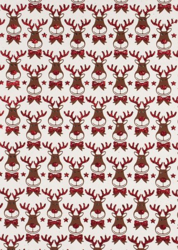 Rudie the Reindeer Rolled Handmade Christmas Gift Wrap Paper 2 Sheets of 19.6 in x 27.5 in