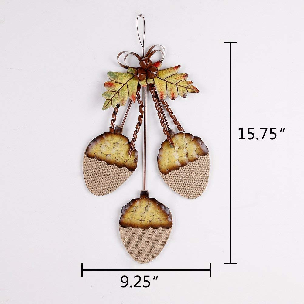 Rustic Thanksgiving Fall Burlap Metal Acorn Cluster Hanging Sign with bell Wall D/écor 15H