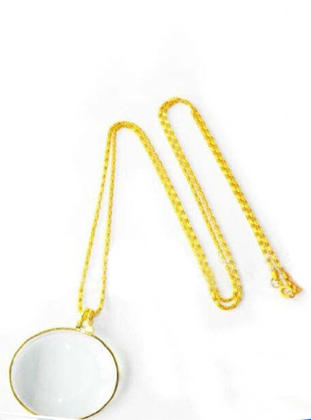 Snowmanna-1PC 5X Magnifier Necklace Magnifying Glass Pendant Optical Lens with Chain Jewelry Loupe for Elders Reading, Increase Vision (Silver)