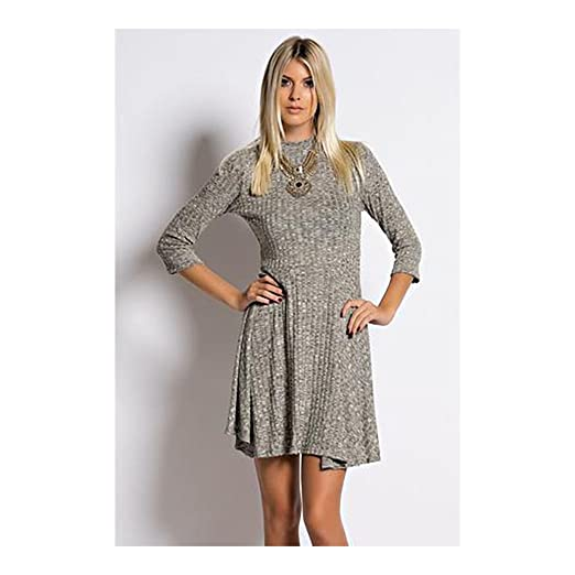 f516e2ec8a Hey Baby Knit Ribbed Skater Dress at Amazon Women s Clothing store