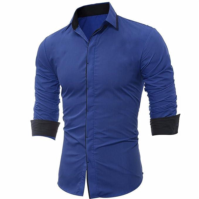 7165f65772 Kword Camicia Uomo Elegante Camicia A Colori Tinta Unita Maglietta ...