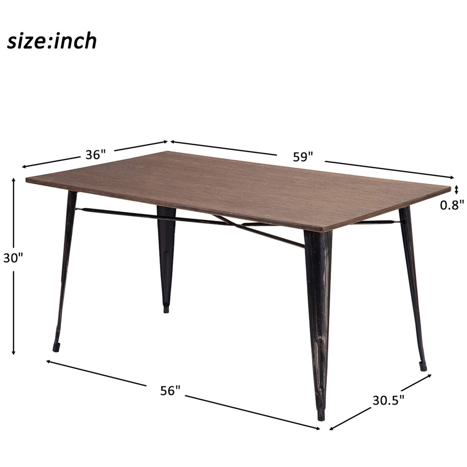 Merax Antique Style Rectangular Dining Table with Metal Legs 59 x 36 , Distressed Black, Only Table, Not Include Bench or Chairs