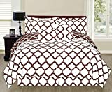 6 Piece Reversible Lancaster Elegant Comforter Set New Bedding Cover Brown/Queen