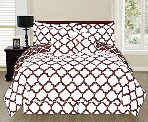 6 Piece Reversible Lancaster Elegant Comforter Set New Bedding Cover Brown/Queen