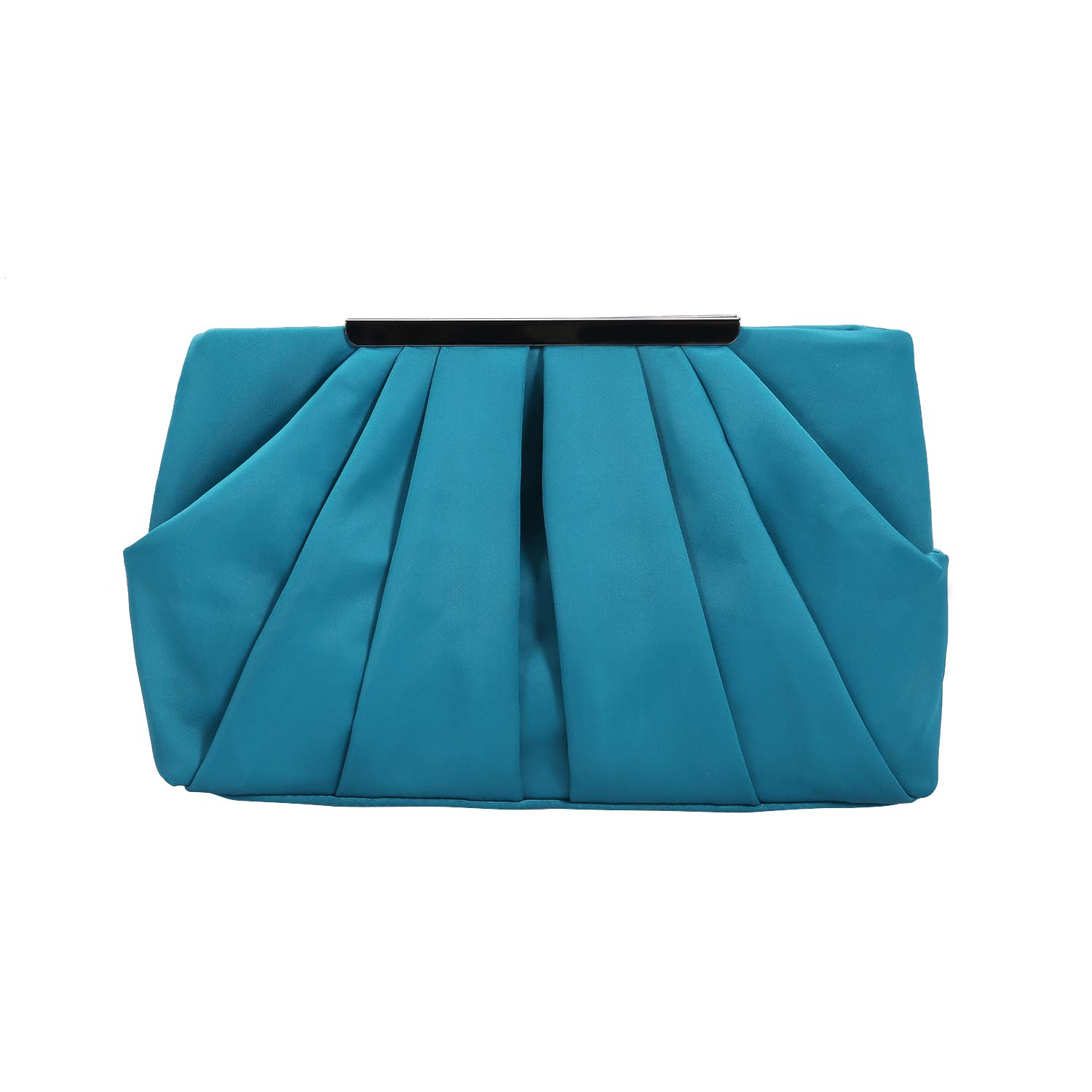 Womens Pleated Satin Evening Handbag Clutch With Detachable Chain Strap Wedding Cocktail Party Bag (Teal Green)
