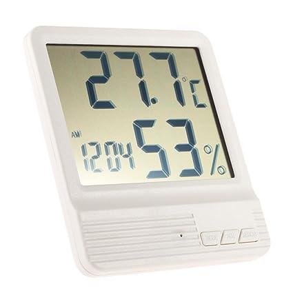 Anself - Digital Termómetro Higrómetro con Reloj Calendario, Min. / Max.