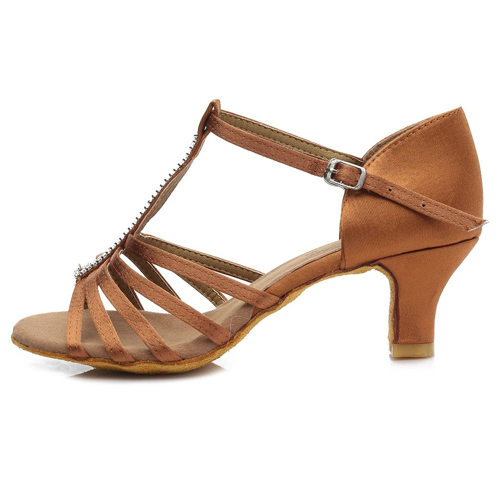 HROYL Chaussures de Danse pour Femmes/Chaussures de Danse Latine Satin Ballroom Modèle 227 ES7-F27