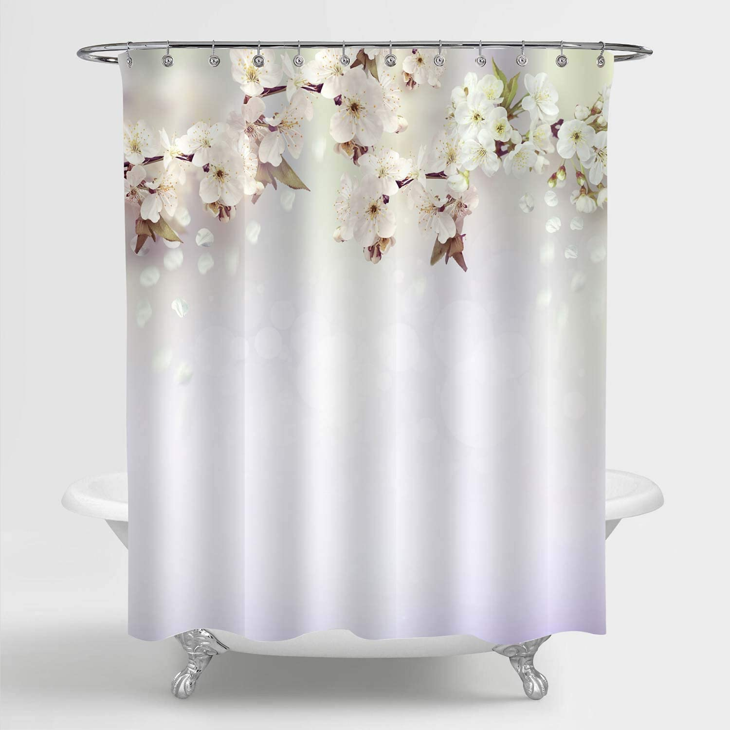 MitoVilla Spring Cherry Blossom Shower Curtain Set for Women and Girls Bathroom Decor, Lovely Cherry Tree Branches and Flying Florals Nature Scenic Bathroom Accessories, Light Lavender, 72