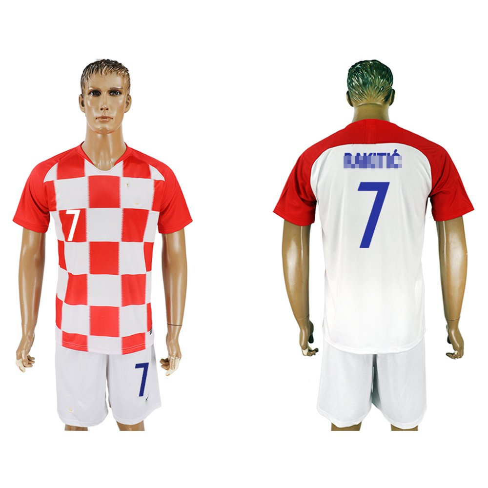 2018メンズクロアチア# 7 Short Sleeves Home Soccer Jersey (ホワイト/レッド) B07FFKTCH5  Small