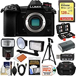 Panasonic Lumix DC-G9 4K Wi-Fi Digital Camera Body with 128GB Card + Battery + Case + Flash + Video Light + Tripod Kit