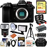 Panasonic Lumix DC-G9 4K Wi-Fi Digital Camera Body with 128GB Card + Battery + Case + Flash + Video Light + Tripod Kit