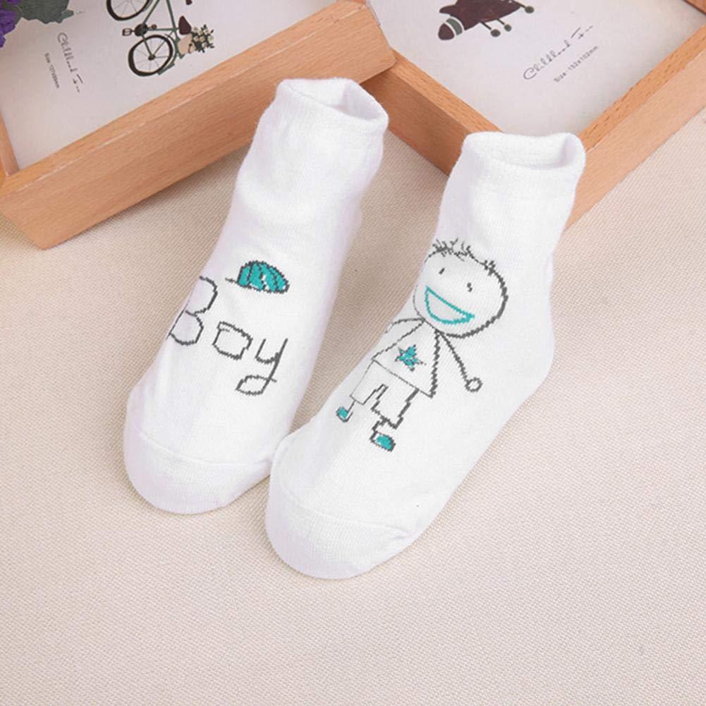Blue swanluck Cute Baby Boy Girl Cartoon Print Socks Kids Cotton Short Floor Socks