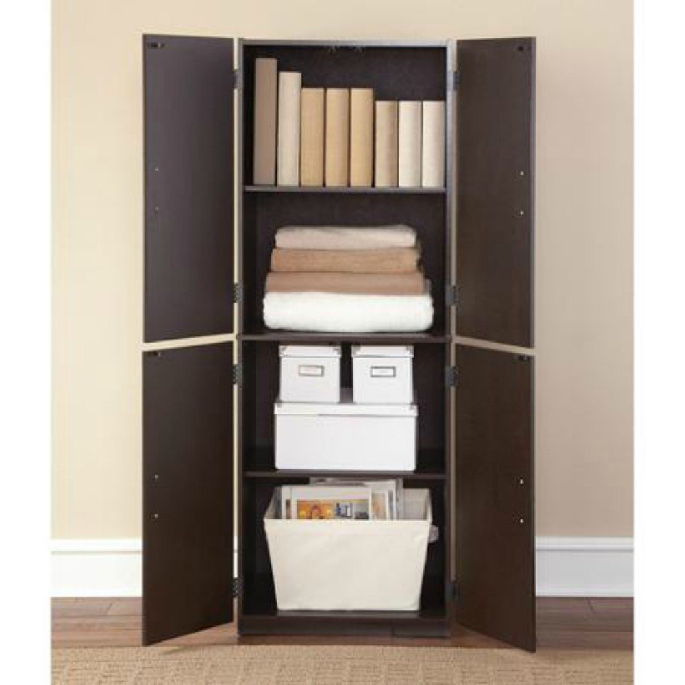 Amazon.com: Mainstays Tall Storage Cabinet, 4 Door (Cinnamon ...