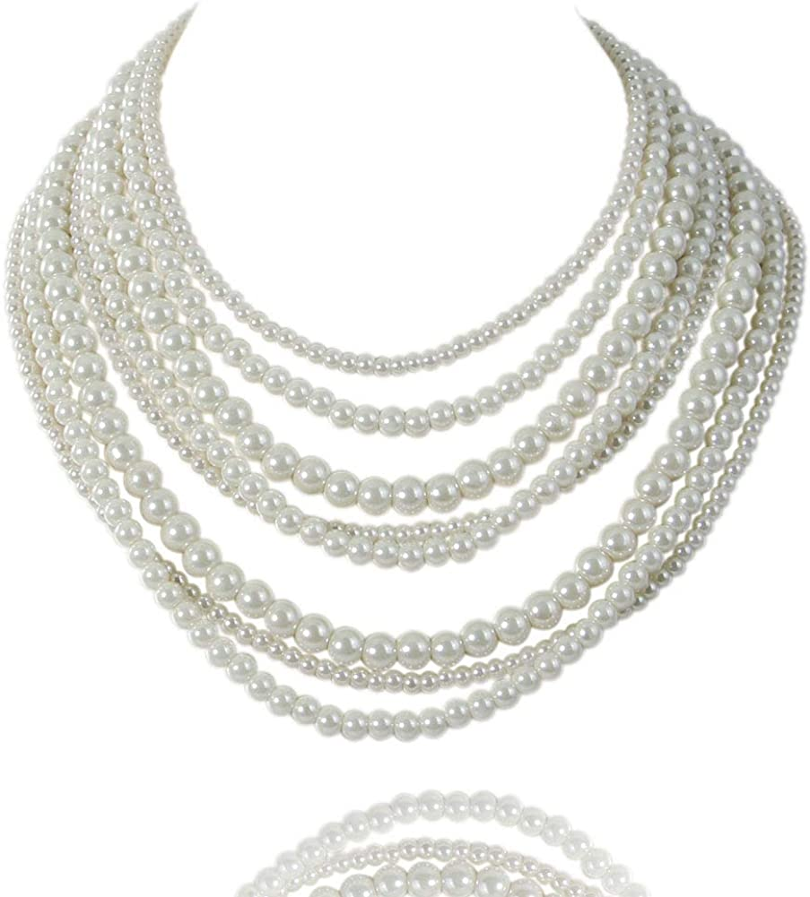 Multi layer necklace with pearls Multi strand pearl choker Layering chain necklace