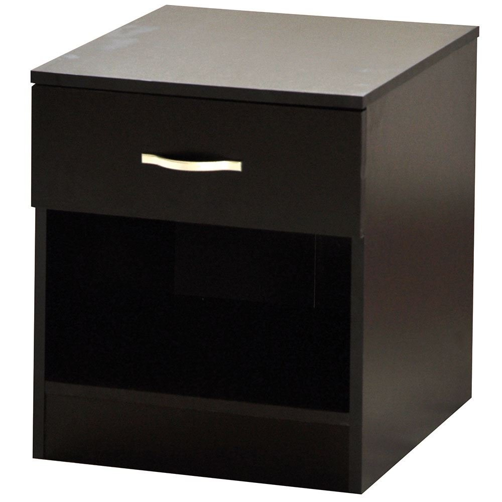 Home Discount Black Bedside Drawer, Bedside Cabinet, 1 Drawer, Bedside Table, Metal Handles & Runners