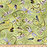 Kanvas Dance Of The Dragonfly Metallic Dancing Dragonflies Celedon Fabric By The Yard