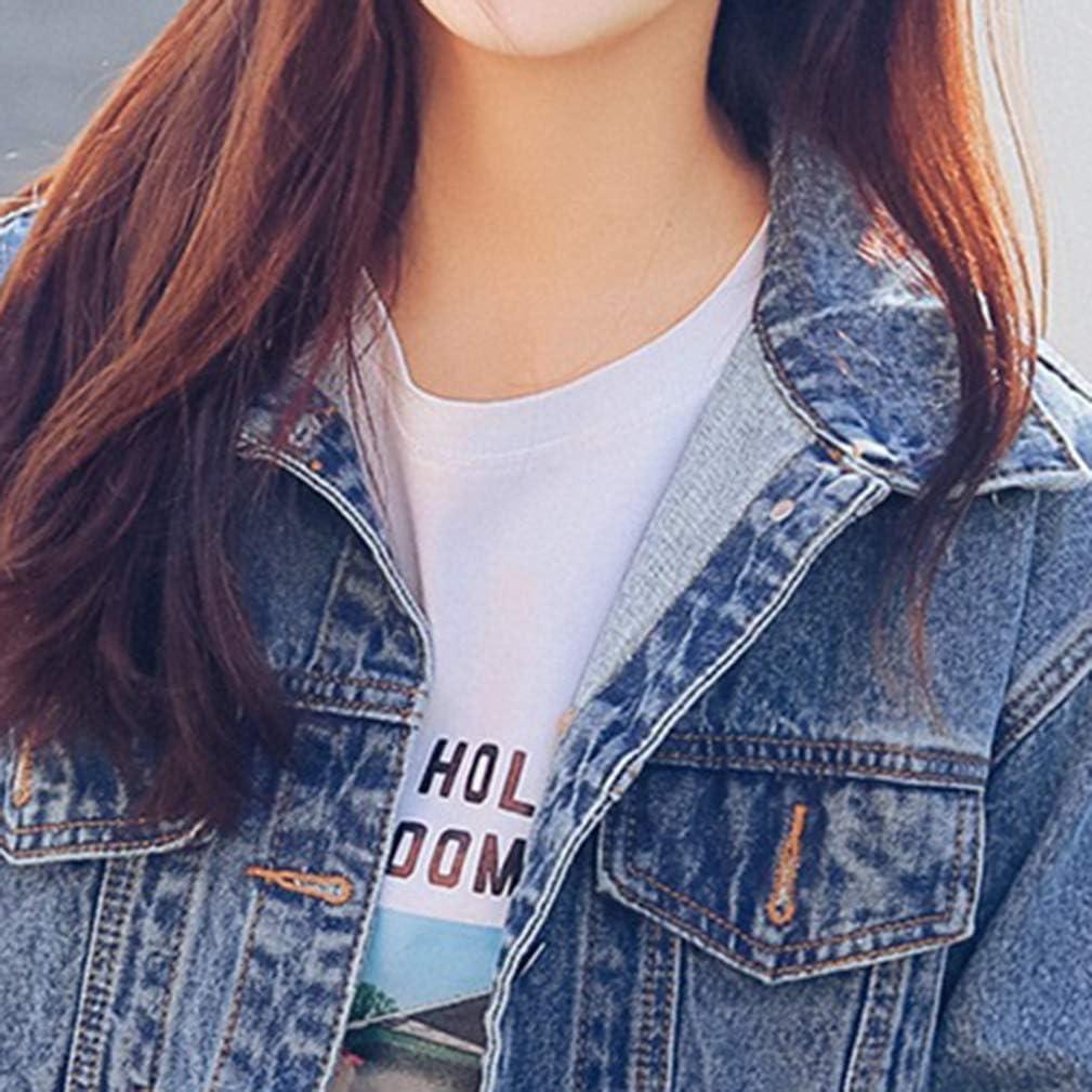 Saukiee Oversized Denim Jacket Distressed Boyfriend Jean Coat Jeans Trucker Jacket for Women Girls