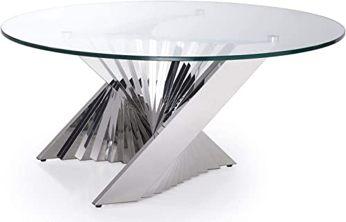 Zuri Modern Falcone Coffee Table – Clear Glass with Polished Stainless Steel Base