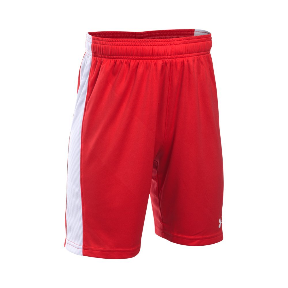 Under Armour Boys' Re-Fixture Soccer Shorts, Red /White, Youth Medium by Under Armour